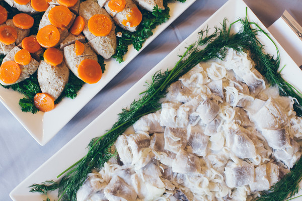 Pickled Herring with Cream and Onions and Gefilte Fish