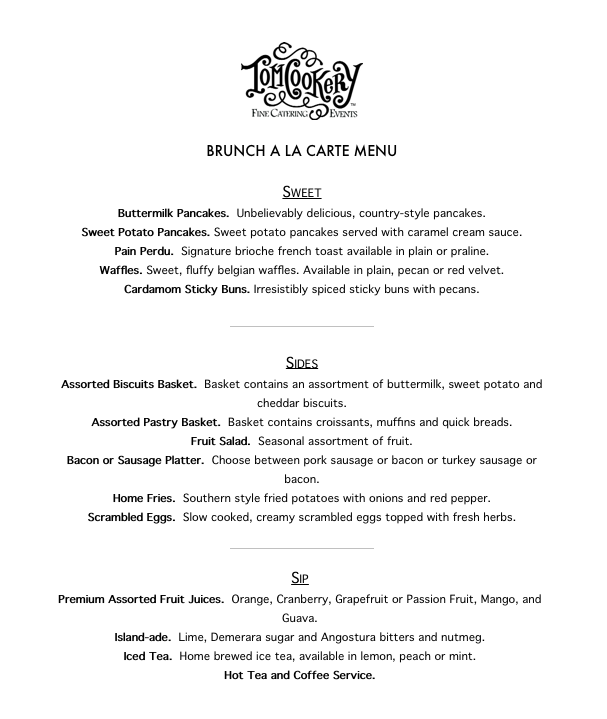 Brunch Buffet Menu 2